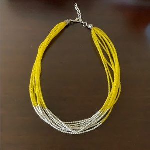 Yellow and silver beaded necklace